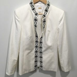 Talbots open front embroidered blazer. Size 10